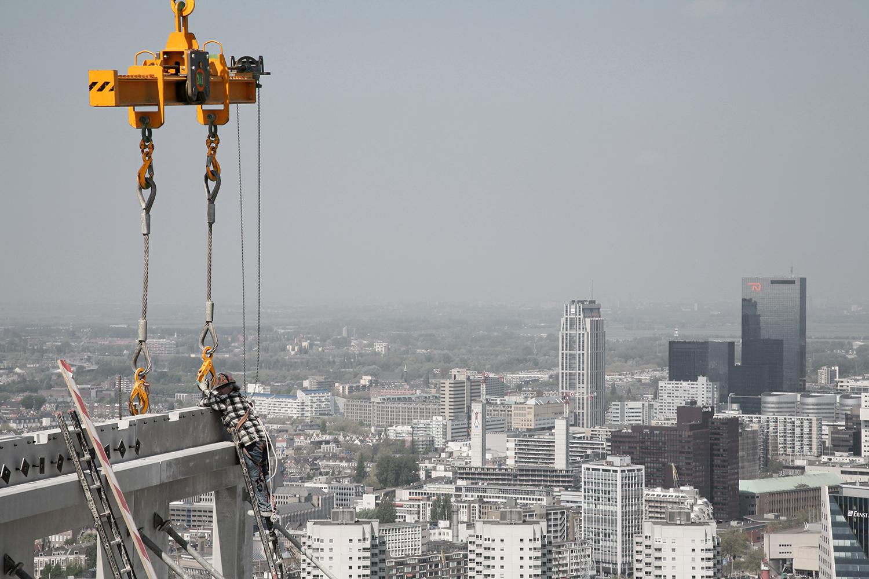 Voortgang bouw Maastoren, Rotterdam. OVG, Architecten Dam & Partners Architecten en Odile Decq Benoit Cornette